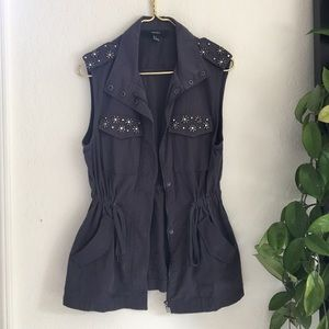 ⭐️ gray rhinestone jeweled utility drawstring vest